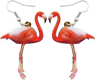 NEWEI Acrylic Pattern Drop Dangle Flamingo Sweet Bird Earrings For Girl Women Gift Animal Jewelry