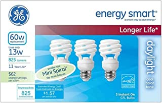 GE Lighting Energy Smart CFL 13-watt (60-watt replacement) 825 lumen light bulb with medium base, 3-pack