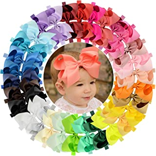 WillingTee 30 Pieces Big 6 Inch Boutique Grosgrain Ribbon Hair Bows Big Baby Girls Bows Headbands for Baby Girls Infants Toddler Kids Teens and Children