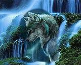 Kits de lienzo de pintura al óleo digital para adultos Niños Cascada alpina Animal Wolf pintura Decoración de arte de pared 16X20 pulgadas DIY Pintura al óleo por kits de números DIY Pintura al óleo