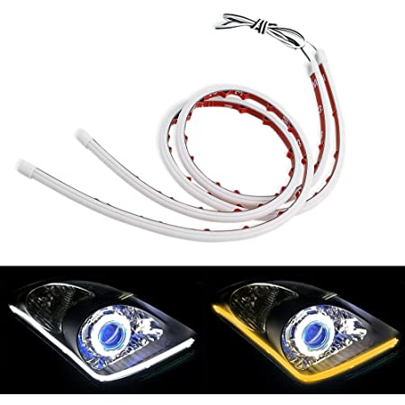 LEADTOPS Show Glow 2X 23inch Dual Color White-Amber Switchback Headlight LED Tube Strip Light DRL Daytime Running Light & Turn Signal Lamp for Car Autor Headlight 60CM
