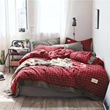 Duvet cover Four Piece Bed Red Small Plaid Pattern 3/4Pcs Bedding Sets Luxury Bed Linen Bedding Set Winter Full Queen Size (Color : King, Size : 220 * 240cm)
