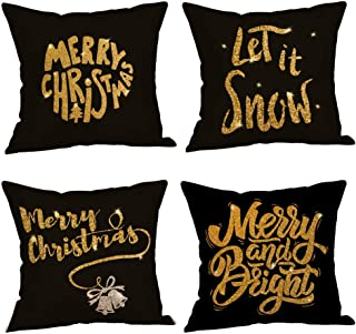 Unionm 86# Pillow Covers Christmas Decor Throw Pillow Case Flax Red Black Beige Tree Snowflake Gift Merry Christmas Square 45 x 45 cm 18 x 18 inch Cushion Cover for Home Sofa Car Pack of 4-3