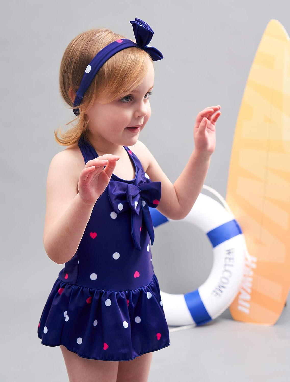 Jastore Baby Girls Swimwear One Piece Swimsuits Beach Wear with Headband