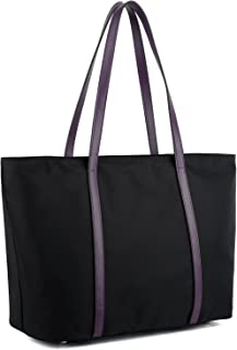 Tote for Women Leather Nylon Shoulder Bag Women's Oxford Large Capacity Work fit 15.6 inch