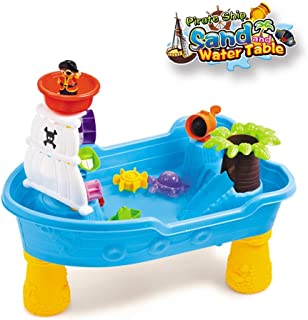 Water Table for Toddlers - Large Pirate Ship Sand Table Outdoor Toys for Toddlers Age 2-4, Includes Scoop/ Cup/ Buckets (Multicolour)