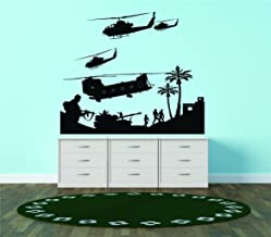 Military Army War Scene Aircraft Helicopters Planes Guns Tank Fighting Combat Soldiers Battle Bedroom Living Room Picture Art Graphic Design Image Vinyl Wall Decal Peel & Stick Sticker Mural Size : 24 Inches X 24 Inches - 22 Colors Available