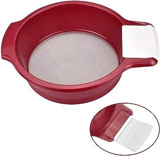 DECARETA Mehlsieb Edelstahl Fein Sieb Mehl Rot 21cm Durchmesser Küchensiebe mit Griffe Haushaltssieb Feinmaschig Edelstahlsieb mit Schaber für Mehl Tee Zucker Pulver Küche