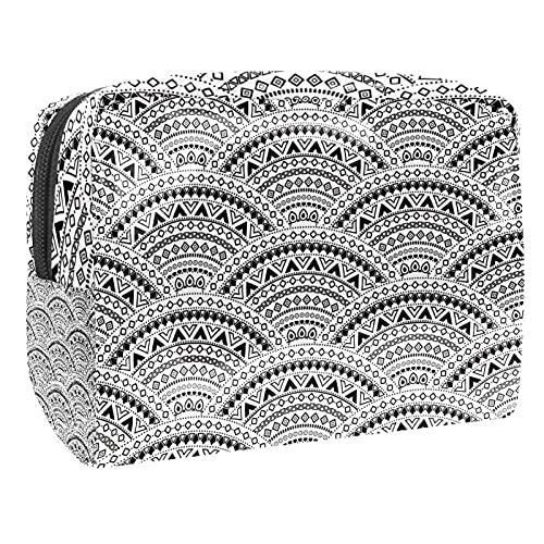 Bolsa de cosméticos, bolsa de aseo con cierre de sandía, color blanco, bolsa organizadora para viajes, baño y organización, Sashiko - Báscula japonesa de henna, 18.5x7.5x13cm/7.3x3x5.1in,