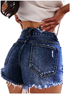 XINHEO Women Sexy Plus-Size High Waist Ripped Midi Shorts Denim Panties