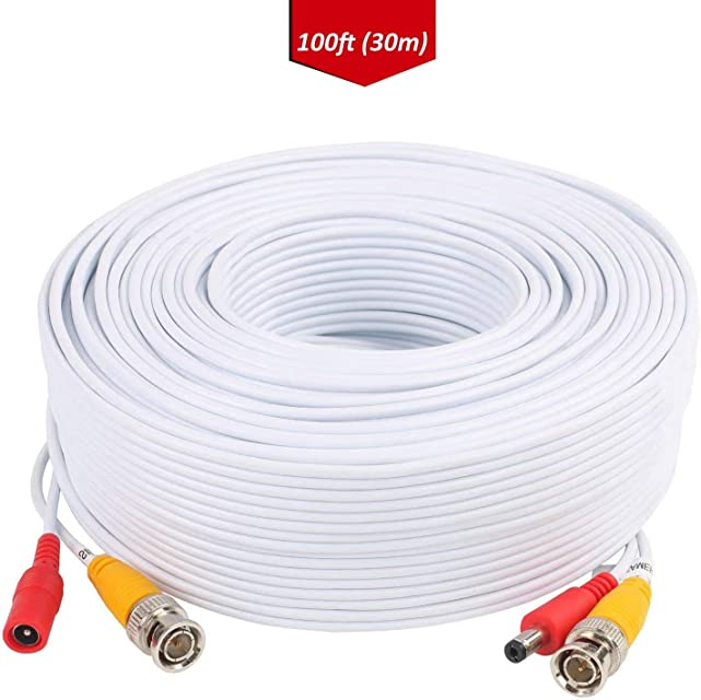 Lonnky - Cable de alimentación de vídeo BNC para cámara de vigilancia CCTV DVR Cable de alimentación BNC RCA Conector BNC RCA Incluido (Color Blanco)
