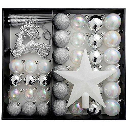 WeRChristmas - Palline per albero di Natale, infrangibili, 50 pezzi, colore: Argento/Bianco/Perla