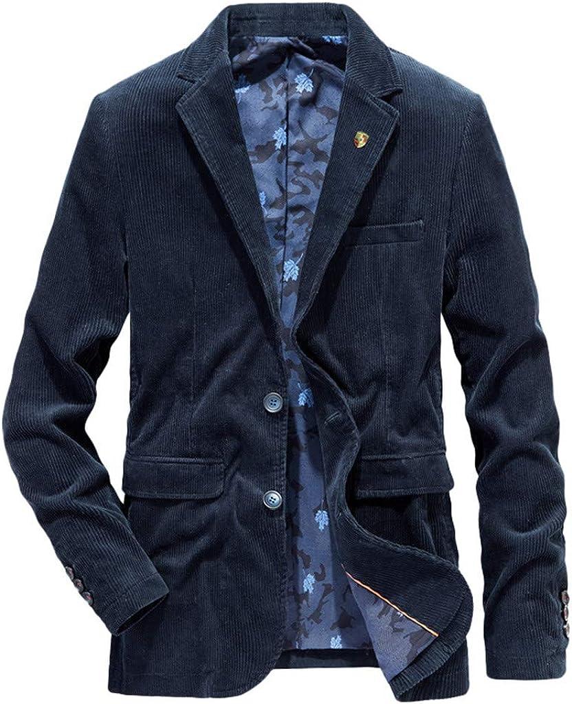 Holzkary Men's Autumn Winter Casual Blazer Warm Thicken Notched Lapel Jacket Coat Outwear
