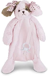 Bearington Baby Wiggles Pacifier Pet, Pink Puppy Plush Stuffed Animal Lovie and Paci Holder, 15""