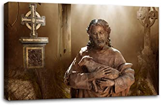 AMEMNY Artwork Paintings Jesus Holding Lost Lamb Decorations for Living Room Canvas Art Wall Ready to Hang Posters and Prints