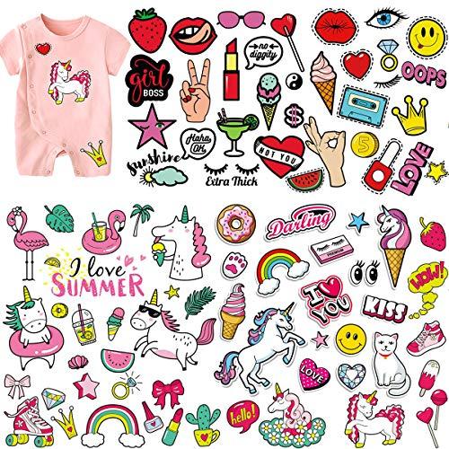 (5 Sets) Niños de hierro en parches, MWOOT Unicornio Dibujos animados Amor Beso Viaje de verano Pegatinas de transferencia de calor para ropa, camisetas, jeans, A-Level Lavable Brithday Party apliques