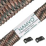 Namvo 550 paracord mil spec tipo iii cable de paracaídas de 7 cuerdas longitud 100 pies / 30 metros - verde oscuro camo
