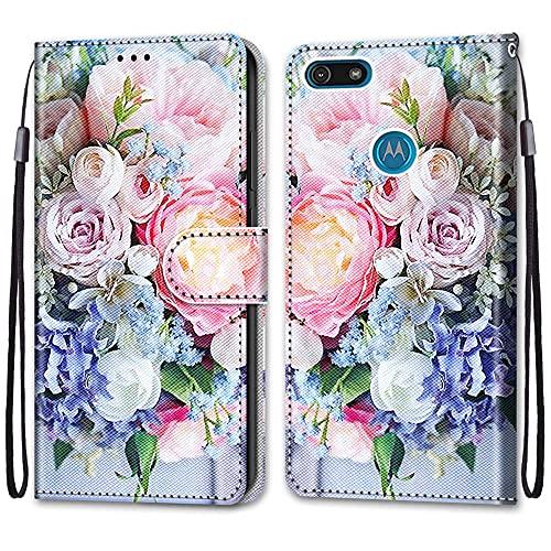 nancencen Kompatibel mit Motorola Moto E6 Play Handyhülle, Flip Cover Schutzhülle (Anti-Fall) Kartenschlitz Portemonnaie Stil - Pinke Blumen