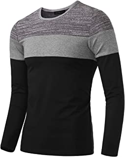 Men's Casual Slim Fit Contrast Color Long Sleeve T-Shirt Tee