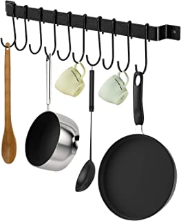X-Chef Kitchen Rail with 10 S Hooks, 17inch Utensil Rack for Pot Pan Lid Spatula, Kitchen Hooks for Utensils, Black