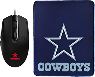 2pcs, NFL Dallas Cowboys Team Logo Gaming Mouse + Mouse Pad, RGB Wired Gaming Mouse + Large Mouse Pad, for Dallas Cowboys