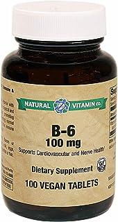 Natural Vitamin Co. - B-6 100 mg, Vitamin B6 (as pyridoxine HCI) 100 mg, 5,000% Daily Value, 100 Tablets, 3+ Months Supply...