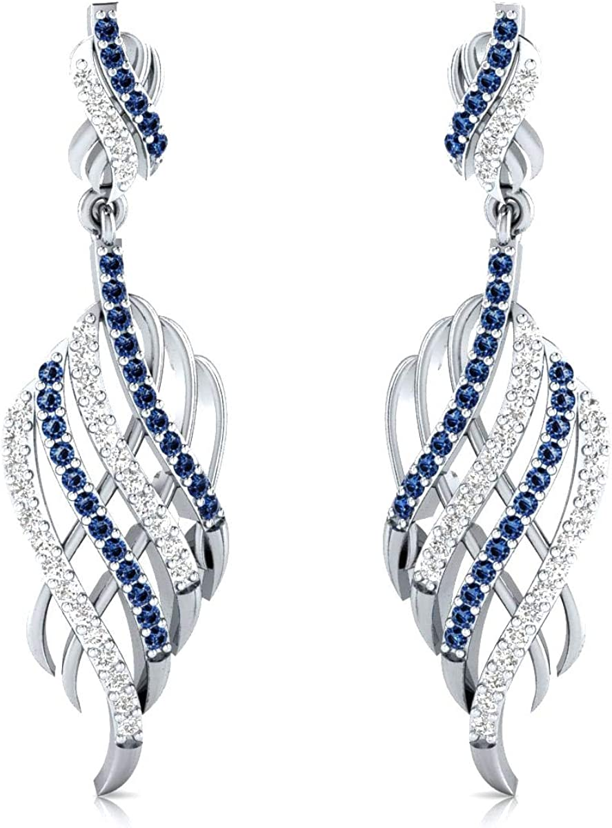 DTJEWELS 1.20 CT trend rank Blue and Our shop OFFers the best service White Fo Sapphire Earrings Drop Dangle