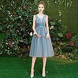 SHENSHI Robes De Soirée Femme,Robe D'Invité De Mariage en Dentelle Brodée Longueur De Thé Bleu, Style 5,10