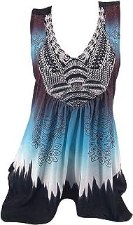 MK988 Womens Irregular Hem Printed Sleeveless Crew Neck Summer T-Shirt Blouse Tank Top