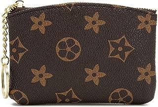 Checkered Zipper Coin Purse PU Vegan Leather waller Mini Key Ring Wallet Card Case