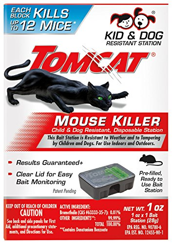 Tomcat Mouse Killer Disposable Station for Indoor/Outdoor Use - Child & Dog Resistant, 1 Station with 1 Bait