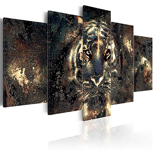 murando Acrylglasbild Abstrakt 200x100 cm 5 Teilig Wandbild auf Acryl Glas Bilder Kunstdruck Moderne Wanddekoration - Tiger Gesicht Tier Textur Gold g-B-0024-k-n