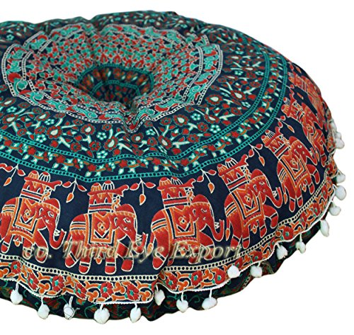 Third Eye Export 32 in Mandala Barmeri Großer runder Boden Kissenbezug Kissen Meditation Sitzmöbel Osmanischer Überwurf Hippie Dekorativer Reißverschluss Böhmischer Hocker (Blau 4)