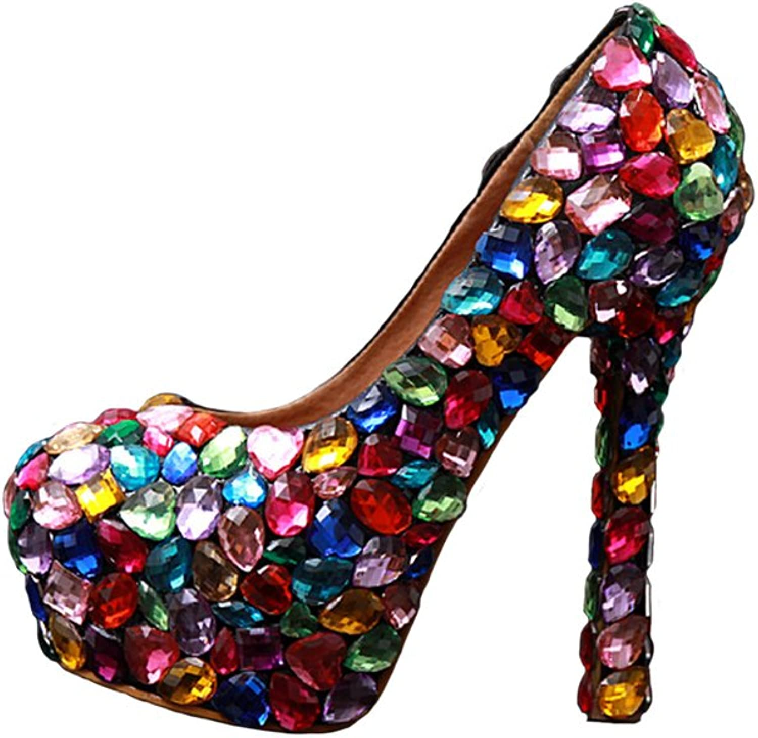 BoShi Women's Diamond Evening Prom shoes Platform Pumps