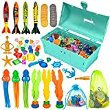 FINGUARD 58Pcs Diving Toys, Dive Toys, Dive Pool Toys, Diving Toys for Pool for Kids with Pool Treasure Chest, Pool Torpedoes, Diamonds, Dive Gems, Seaweeds, Pirate Treasures, Octopus, Kids Gift(Blue)