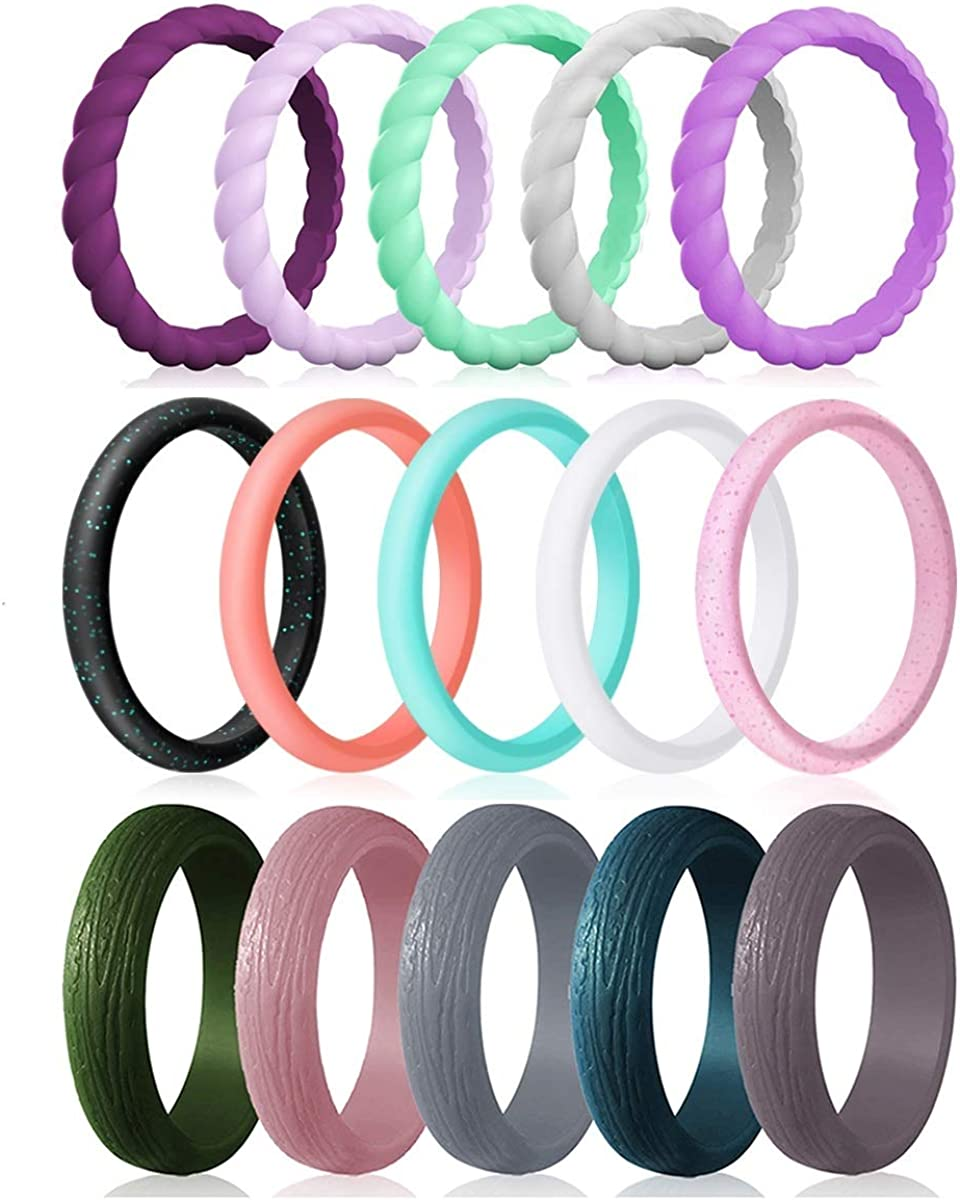 Affordable Colorful Comfortable fit 15-Pack Thin Rubber Wedding Bands Stackable Braided Ring Silicone Wedding Rings for Women Skin Safe Fashion