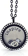 BG247 Stainless Steel 30mm Glass Floating Memory Living Locket Circle Necklace