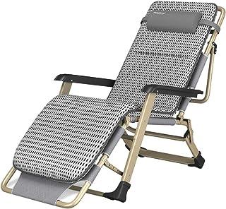 Tumbonas Sillas de Cubierta Silla de jardín reclinable Tumbonas Sillas de Gravedad para relajación Tumbona Plegable Ajustable para Playa de Camping al Aire Libre, Gris MAX.260 kg