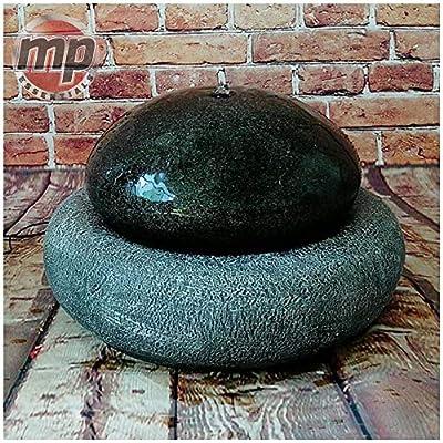 MP Essential Garden Outdoor Solar Pebble Ball Stone Water Fountain Feature - Black & Grey