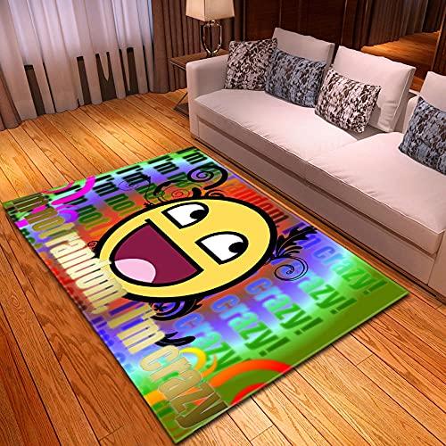 QWFDAQ alfombras Baratas Pack de emoticonos Verde Azul Naranja Amarillo alfombras 80...