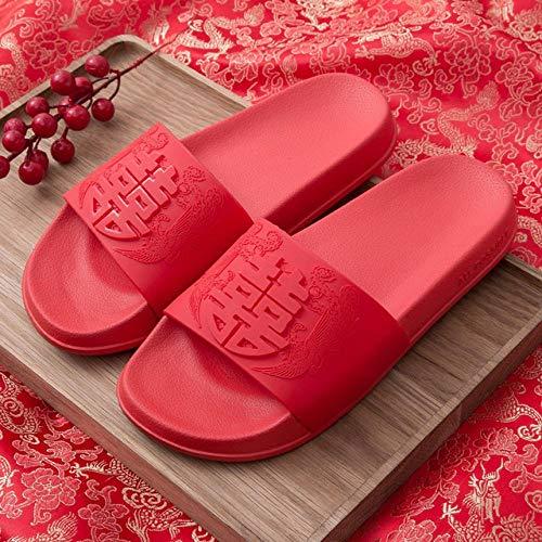 WMSLPHSF Verano de Las Mujeres Zapatillas de Boda Personalizar Novia Novias Chanclas para Fiesta Nupcial Rojo Estilo Chino Amantes Sandalias Unisex