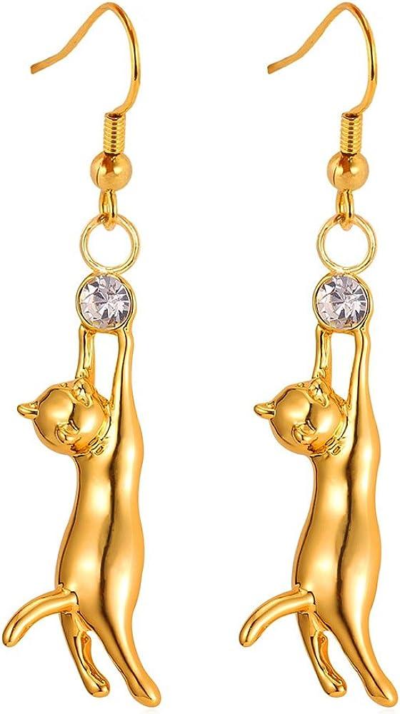 U7 Cute Cat Fresno Wholesale Mall Ear Pendant Platinum Drop W Earrings Gold Plated 18K