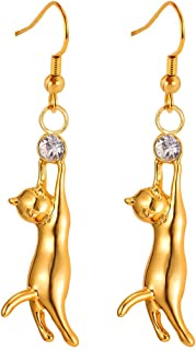 Cute Cat Ear Pendant Platinum/18K Gold Plated Drop Earrings With Rhinestone