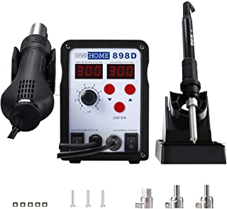 VIVOHOME 2 in 1 898D SMD Rework Station Soldering Station Iron Hot Air Heat Gun with 3 Nozzles 110V