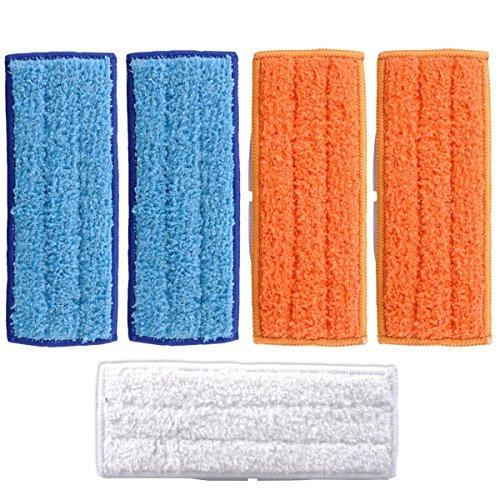 KEEPOW 5 Stück Waschbare Mopps Pads für iRobot Braava Jet 250 240 241 Enthält 2 Stück Nasswischtücher, 2 Stück Feuchtwischtücher,1 Trocke Wischtuch