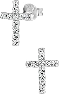Hypoallergenic Sterling Silver CZ Simulated Diamond Cross Stud Earrings for Kids (Nickel Free)