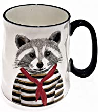 Hipster Animal Stoneware Coffee Mugs by Signature | RACCOON with Bandanna