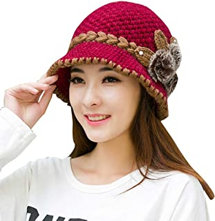 AIBEARTY Women Lady Vintage Warm Winter Cable Knit Beanie Hat Fur Flower Decorated Bucket Hat Snow Ski Cap