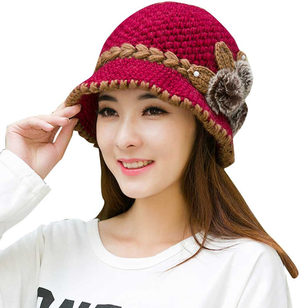 Malbaba Women Winter Warm Floral Cap Knitted Hat Beret Baggy Beanie Hat Casual Retro Beret Slouch Ski Cap