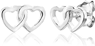 Sterling Silver Linked Open Heart Stud Earrings